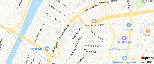 Мирный переулок на карте Астрахани с номерами домов