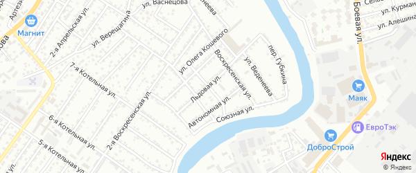 Академический переулок на карте Астрахани с номерами домов