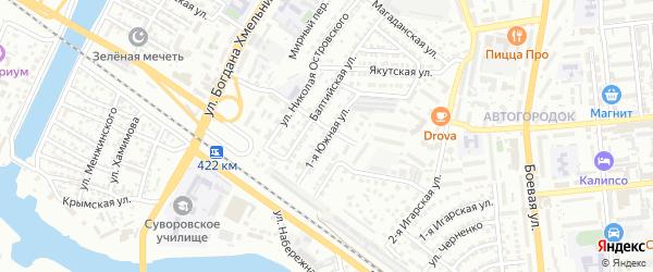 Южная 1-я улица на карте Астрахани с номерами домов