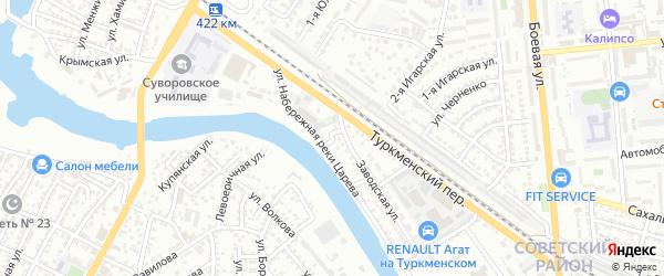 Заводской 2-й переулок на карте Астрахани с номерами домов
