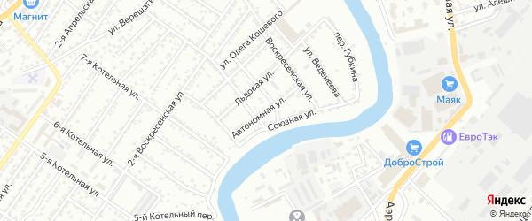 Автономная улица на карте Астрахани с номерами домов