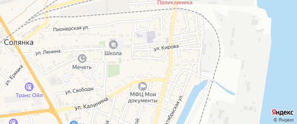 Тихий переулок на карте села Солянки Астраханской области с номерами домов