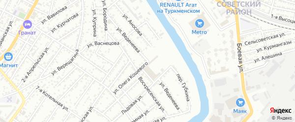 Улица Веденеева на карте Астрахани с номерами домов