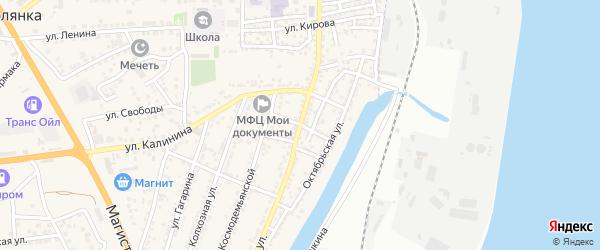 Прямой переулок на карте села Солянки Астраханской области с номерами домов