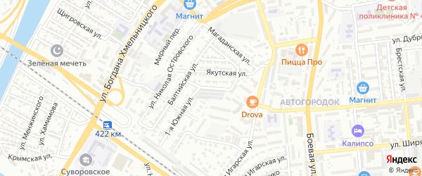Южная улица на карте Астрахани с номерами домов