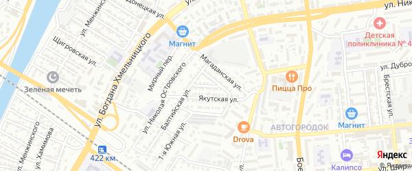 Охотская улица на карте Астрахани с номерами домов