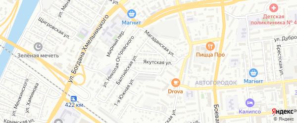 Якутская улица на карте Астрахани с номерами домов