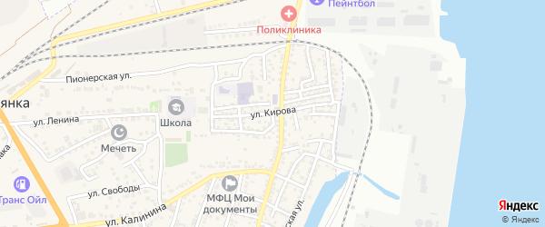 Улица Кирова на карте села Солянки Астраханской области с номерами домов