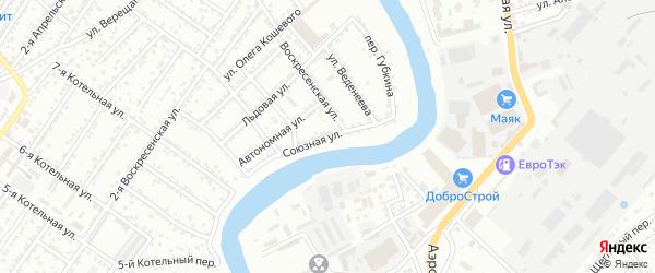 Союзная улица на карте Астрахани с номерами домов