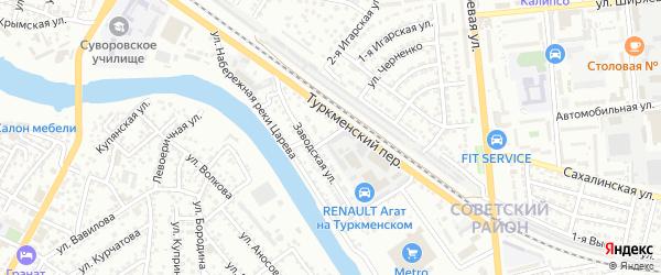 3-й Заводской переулок на карте Астрахани с номерами домов