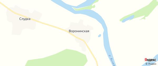 Карта Воронинской деревни в Архангельской области с улицами и номерами домов