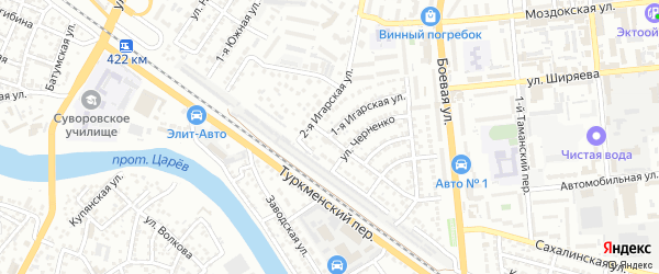 Игарский переулок на карте Астрахани с номерами домов