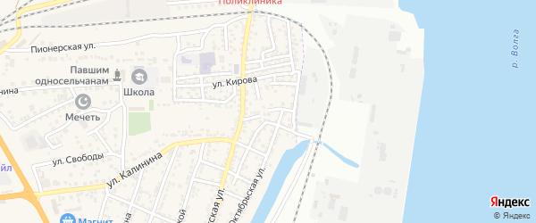 Еречный переулок на карте села Солянки Астраханской области с номерами домов