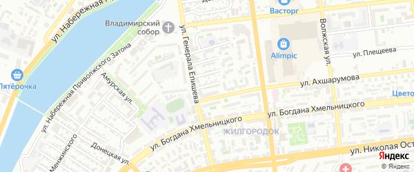 Улица К.Либкнехта на карте Астрахани с номерами домов