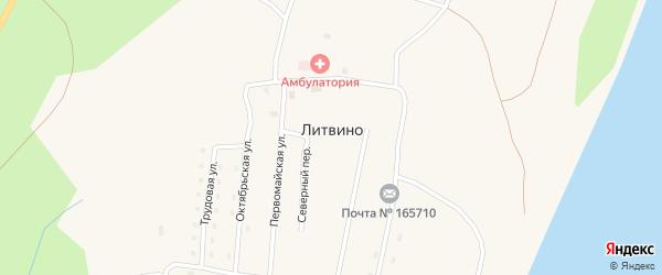 Первомайская улица на карте поселка Литвино Архангельской области с номерами домов