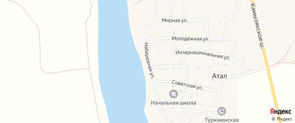 Набережная улица на карте села Атала Астраханской области с номерами домов