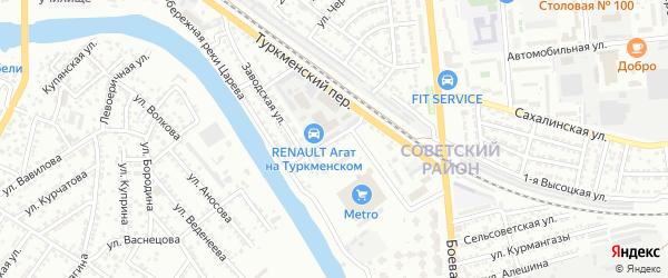 Заводской 4-й переулок на карте Астрахани с номерами домов
