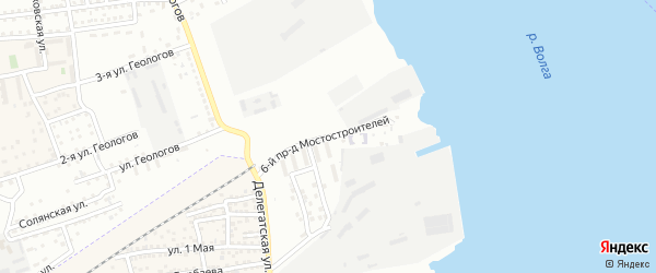 Мостостроителей 6-й проезд на карте Астрахани с номерами домов