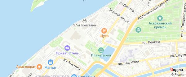 Бульварный переулок на карте Астрахани с номерами домов
