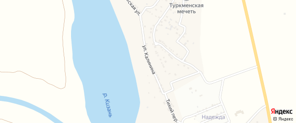 Улица Калинина на карте села Атала Астраханской области с номерами домов