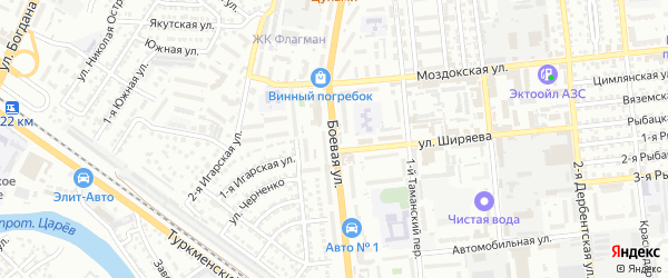Боевая улица на карте Астрахани с номерами домов