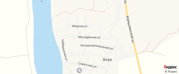 Молодежная улица на карте села Атала Астраханской области с номерами домов