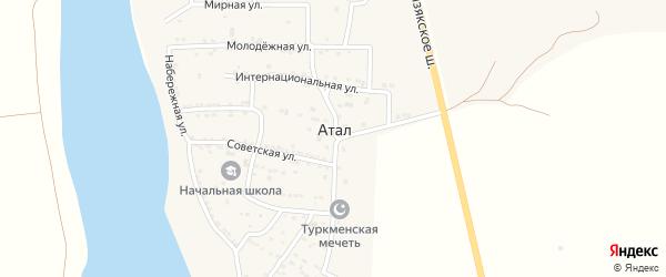 Абрикосовая улица на карте села Атала Астраханской области с номерами домов