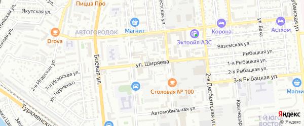 Улица Ширяева на карте Астрахани с номерами домов
