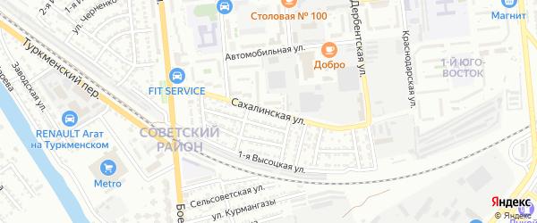 Сахалинская улица на карте Астрахани с номерами домов