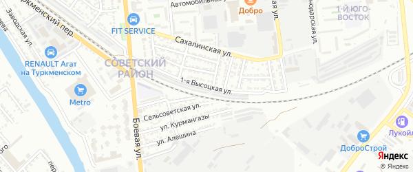 Высоцкая 1-я улица на карте Астрахани с номерами домов