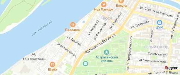 Улица Пугачева на карте Астрахани с номерами домов