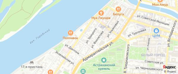 Тихий переулок на карте Астрахани с номерами домов