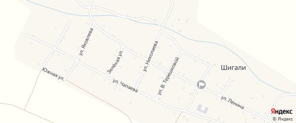 Улица Николаева на карте села Шигали с номерами домов