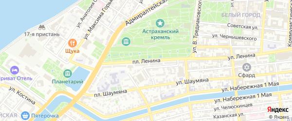 Площадь Ленина на карте Астрахани с номерами домов