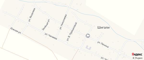 Улица В.Терешковой на карте села Шигали Чувашии с номерами домов
