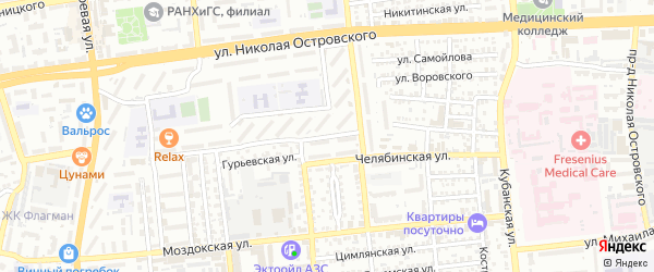 Улица Дубровинского на карте Астрахани с номерами домов