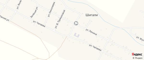 Центральная улица на карте села Шигали Чувашии с номерами домов