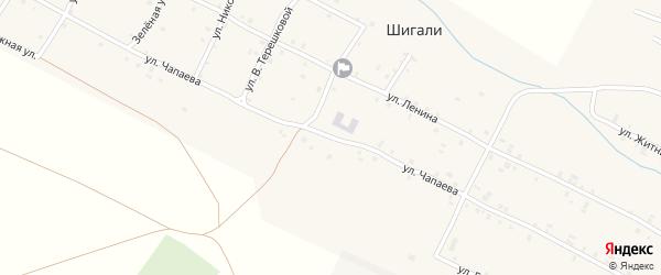 Улица Чапаева на карте села Шигали Чувашии с номерами домов