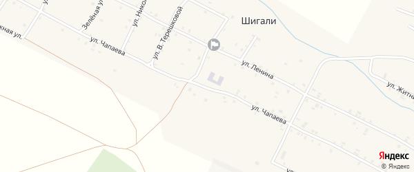 Улица Чапаева на карте села Шигали с номерами домов