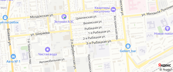 Краснодарская улица на карте Астрахани с номерами домов
