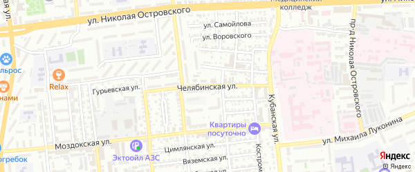 Челекенская улица на карте Астрахани с номерами домов