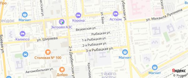 Рыбацкая 1-я улица на карте Астрахани с номерами домов