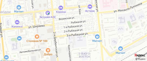 Рыбацкая 2-я улица на карте Астрахани с номерами домов