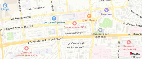 Бежецкая улица на карте Астрахани с номерами домов