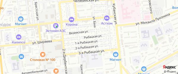 Рыбацкая улица на карте Астрахани с номерами домов