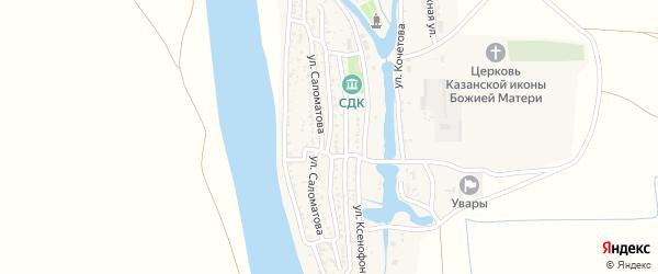 Улица Фролова на карте села Увары Астраханской области с номерами домов