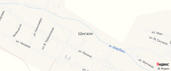 Улица К.Иванова на карте села Шигали с номерами домов