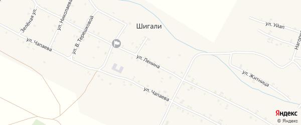 Улица Ленина на карте села Шигали с номерами домов