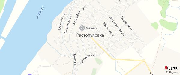 Карта села Растопуловки в Астраханской области с улицами и номерами домов