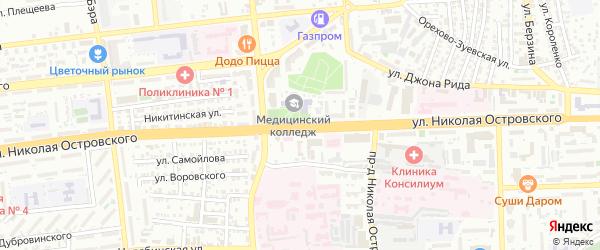 Улица Островского на карте Астрахани с номерами домов